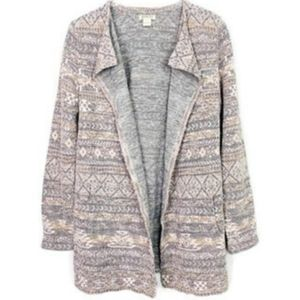{M} Lucky Brand 'Live In Love' Aztec Open Duster